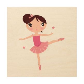 Impression Sur Bois Peu de balerina mignon de danse