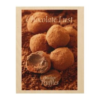 Impression Sur Bois Photo de truffes de chocolat avec le texte