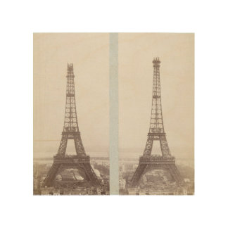 Impression Sur Bois Photo vintage Paris de construction de Tour Eiffel