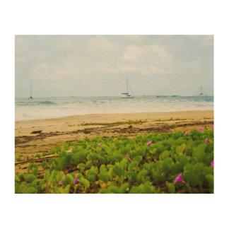 Impression Sur Bois Plage et bateaux de Kauai Hawaï de baie de Hanalei
