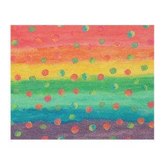 Impression Sur Bois Rayures et taches colorées d'aquarelle