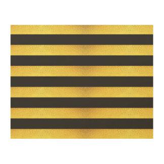 Impression Sur Bois Rayures modernes de noir de feuille d'or de Faux