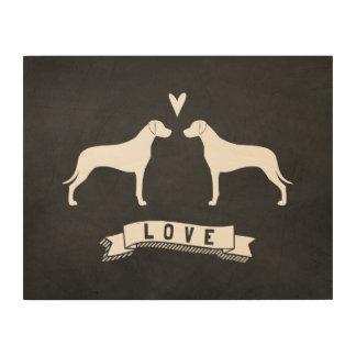 Impression Sur Bois Rhodesian Ridgeback silhouette l'amour