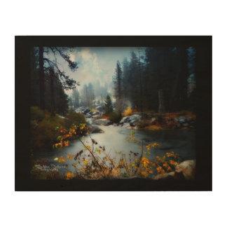 Impression Sur Bois Rivière de Plumas en automne