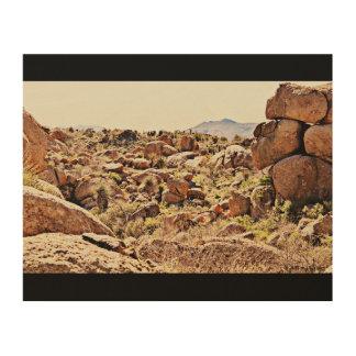 Impression Sur Bois Rochers de désert sur le mur en bois art.