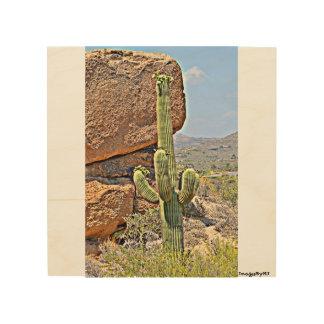 """Impression Sur Bois """"Saguaro mur en bois art. dans rochers"""""""