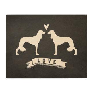 Impression Sur Bois Saluki silhouette l'amour