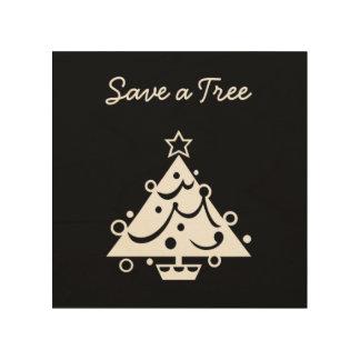 Impression Sur Bois Sauvez un bois d'arbre de Noël de typographie