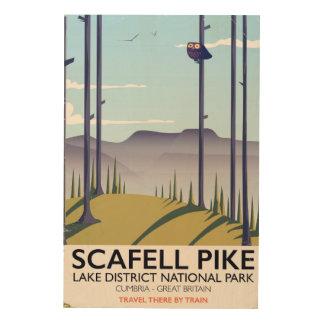 Impression Sur Bois Scafell Pike, Cumbria, affiche vintage de voyage