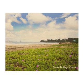 Impression Sur Bois Scène de plage de Kauai Hawaï de baie de Hanalei