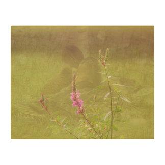 Impression Sur Bois Se blottir la fleur rose de canards