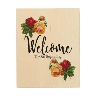 Impression Sur Bois Signe bienvenu de mariage