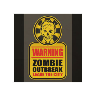 Impression Sur Bois Signe d'avertissement de manifestation de zombi