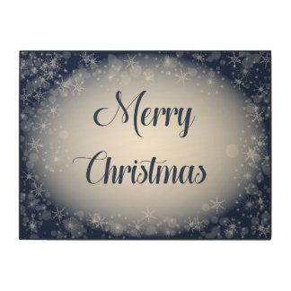 Impression Sur Bois Signe de Joyeux Noël de bleu marine pour l'entrée
