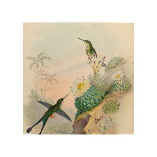 Impression Sur Bois Signe en bois d'art de peinture de cactus d'oiseau