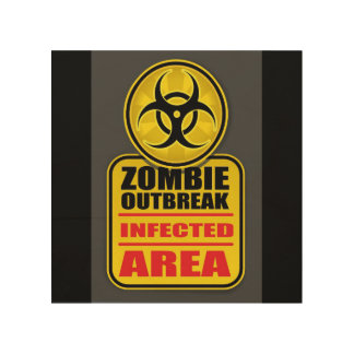 Impression Sur Bois Signe infecté par manifestation de région de zombi