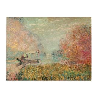 Impression Sur Bois Studio de bateau de Claude Monet   sur la Seine