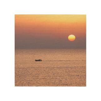 Impression Sur Bois Toile avec le coucher du soleil en mer italienne