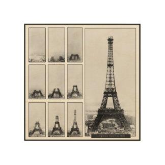 Impression Sur Bois Tour de Gustav Eiffel en construction