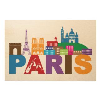 Impression Sur Bois Typographie colorée de Paris, France |