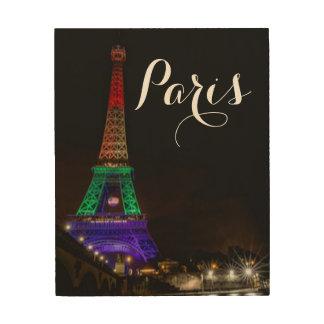 Impression Sur Bois Typographie colorée de Tour Eiffel de Paris