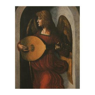 Impression Sur Bois Un ange en rouge avec un luth par Leonardo da