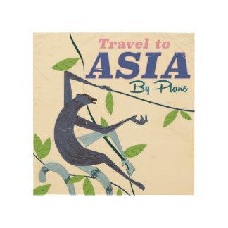 Impression Sur Bois Vacances à l'affiche de voyage de singe de l'Asie