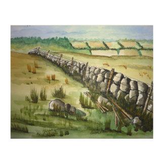 Impression Sur Bois Vieille barrière en pierre dans la peinture de