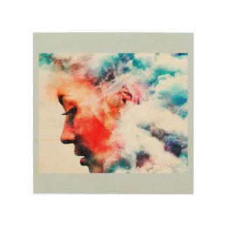 Impression Sur Bois Visage de pensée nuageux d'art en bois de mur
