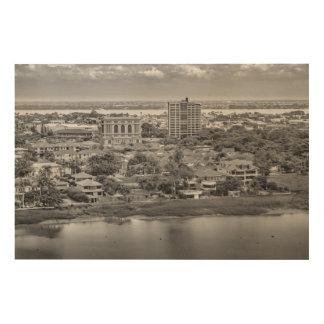 Impression Sur Bois Vue aérienne de Guayaquil d'avion de fenêtre