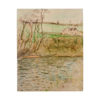 Impression Sur Bois Vue de rivière, foin sur le montage en étoile