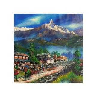 Impression Sur Bois Vue panoramique de montagne Népal d'Everest