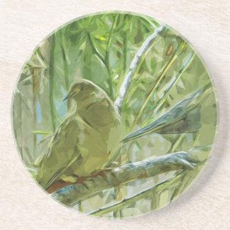 Impressionisme abstrait de colombes de matin dessous de verre