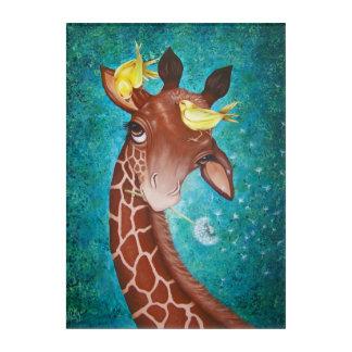 Impressions En Acrylique Girafe mignonne avec la peinture d'oiseaux