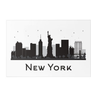 Impressions En Acrylique Horizon de New York City | noir et blanc