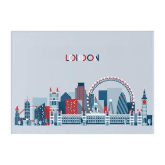 Impressions En Acrylique Londres, Angleterre horizon rouge, blanc et bleu