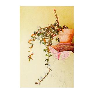 Impressions En Acrylique Usine et papillon mis en pot d'aquarelle