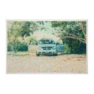 Impressions En Acrylique Van Parked sur la plage de Boca Chica, Key West,