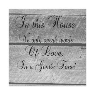 In this house we only speak words of LOVE Canvas Afdruk