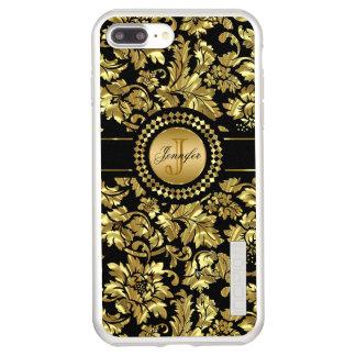 Incipio DualPro Shine iPhone 7 Plus Case Damassé métallique d'or avec le monogramme