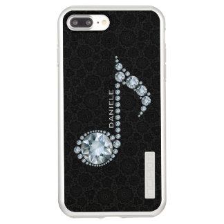 Incipio DualPro Shine iPhone 7 Plus Case Damassé noire de diamants blancs de note de