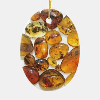 Inclusions fossiles en ambre dominicain ornement ovale en céramique