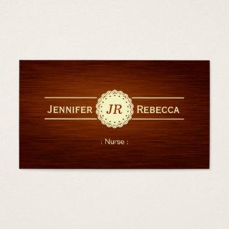 Infirmière - monogramme en bois de grain cartes de visite