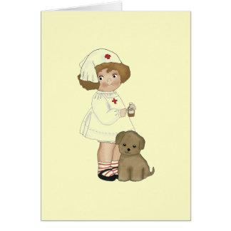 Infirmière vintage avec le T-shirts et les cadeaux Carte De Vœux