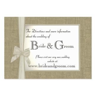 Information de Web de toile de jute et de mariage Carte De Visite Grand Format