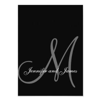 Initiale blanche noire élégante d'invitations de