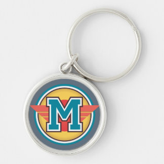 Initiale bleue de la lettre M de monogramme Porte-clé Rond Argenté
