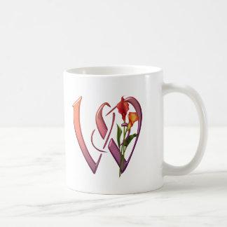 Initiale colorée W de calla Mug Blanc