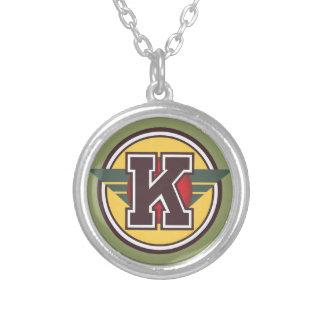 """Initiale de la lettre """"K"""" de monogramme de Deco Pendentif Rond"""