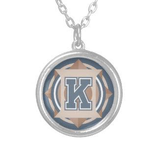 """Initiale de la lettre """"K"""" de monogramme Pendentif Rond"""